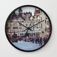 scotland Wall Clocks featuring Edinburgh Scotland by MerchChicago