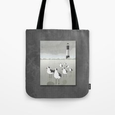 Seagulls Lighthouse Tote Bag