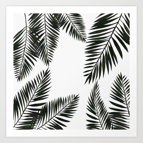 Black Watercolor Tropical Leaves Art Print
