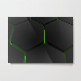 Futuristic hexagons on green backlight Metal Print