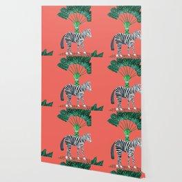 tropical zebra #livingcoral Wallpaper
