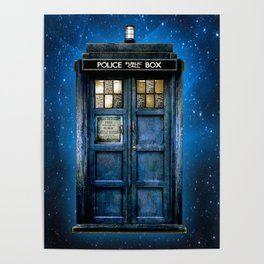 Beautiful tardis with yellow stained glass windows Poster
