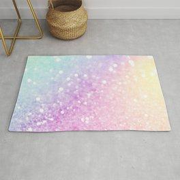 Pretty Pastel Colorful Glitter Bokeh Gradient Rug