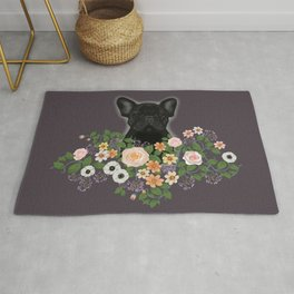French Bulldog in the Flowers Rug