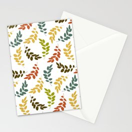 Colorful Leaves, Leaf Pattern - Blue Green Yellow Stationery Cards