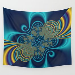 fractal and turquoise Wall Tapestry