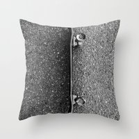 skateboard Throw Pillows featuring Skateboard by short stories gallery