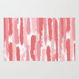 Brushstrokes Stripes Pattern - Pink, Rose, Coral, Peach Rug