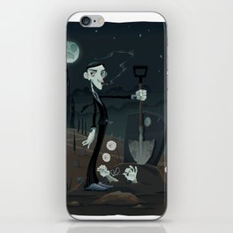 Funny scene in the cemetery. iPhone Skin