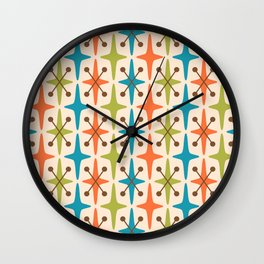 Mid Century Modern Abstract Star Pattern 441 Orange Brown Turquoise Chartreuse Wall Clock