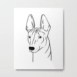Xoloitzcuintli (Black and White) Metal Print