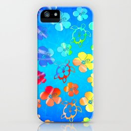 Tie Dye Honu And Hibiscus iPhone Case