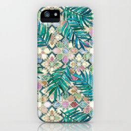 Muted Moroccan Mosaic Tiles with Palm Leaves iPhone Case
