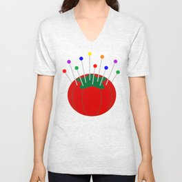 Sewing Pincushion Christmas Shirt Unisex V-Neck