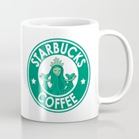 starbucks Mugs featuring STARBUCKS COFFEE by ANDY
