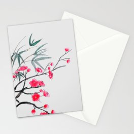 bamboo and red plum flowers Stationery Cards