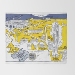 PITTSBURGH University map PENNSYLVANIA  dorm decor Throw Blanket