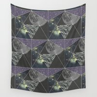 hexagon Wall Tapestries featuring Space Hexagon by Pulpixel Design