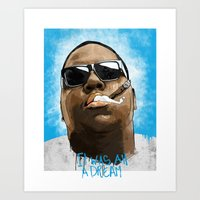 biggie Art Prints featuring Biggie by KVNCHRLZ