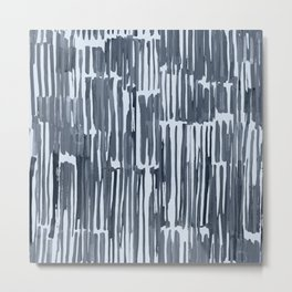 Simply Bamboo Brushstroke Indigo Blue on Sky Blue Metal Print