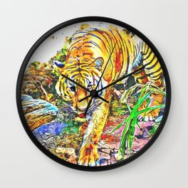 Tiger Walking Wild Wall Clock