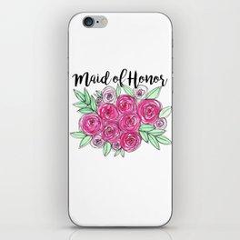 Maid of Honor Wedding Pink Roses Watercolor iPhone Skin