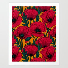 Red poppy garden Art Print