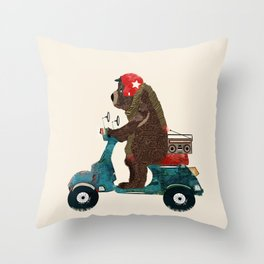 scooter bear Throw Pillow