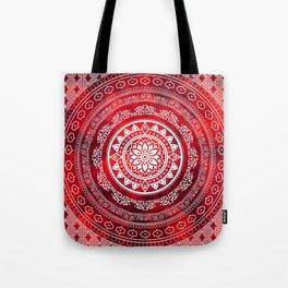 'Scarlet Destiny' Red & White Flower Of Life Boho Mandala Design Tote Bag