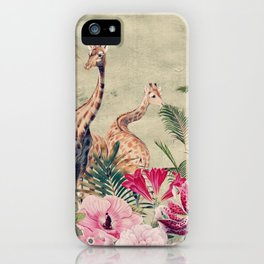 Vintage & Shabby Chic - Tropical Animals And Flower Garden iPhone Case