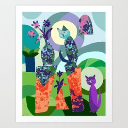 Still Life with Two Cats Art Print