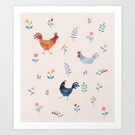 Little Hens (ivory) Art Print
