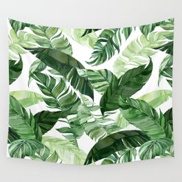 Green leaf watercolor pattern Wall Tapestry