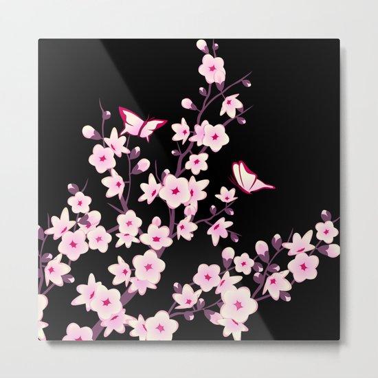 Cherry Blossoms Pink Black Metal Print