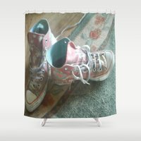 converse Shower Curtains featuring Converse by Beatrice