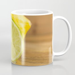 Lime slices cross section on wood close front view Coffee Mug