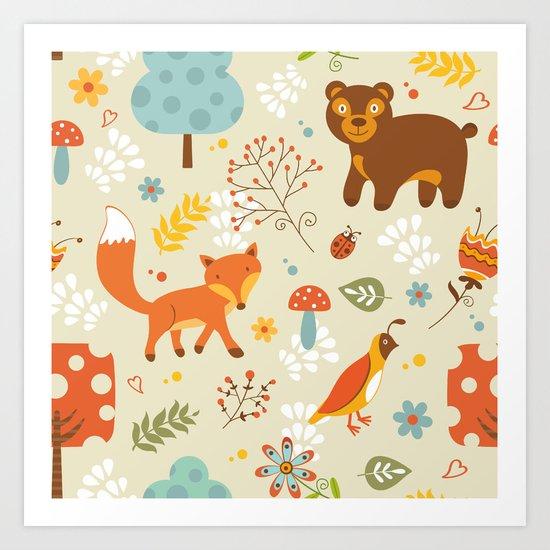 Woodland pattern Art Print