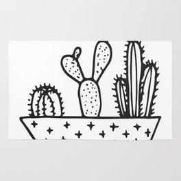 Cactus House Garden Black and White Rug