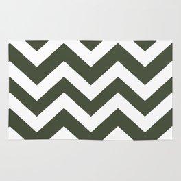 Rifle green - green color -  Zigzag Chevron Pattern Rug