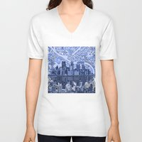 pittsburgh V-neck T-shirts featuring pittsburgh city skyline by Bekim ART