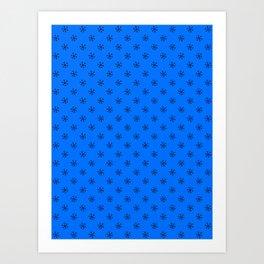 Black on Brandeis Blue Snowflakes Art Print
