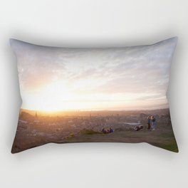 Salisbury Crags overlooking Edinburgh at sunset 2 Rectangular Pillow