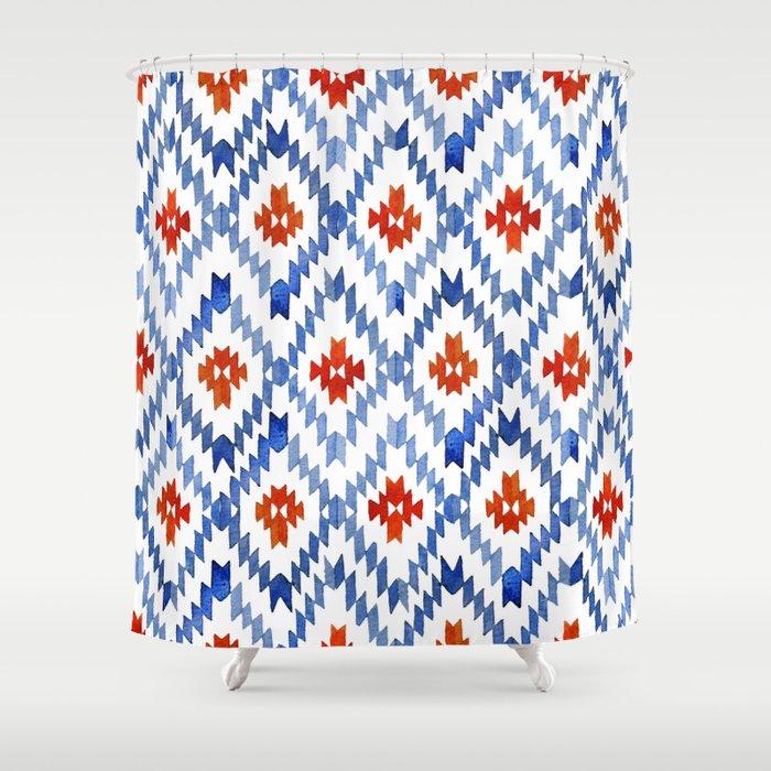 Blue Rhombus Balinese Ikat Shower Curtain
