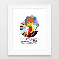 beethoven Framed Art Prints featuring Beethoven by Szoki
