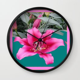FUCHSIA PINK LILY TEAL ARTWORK Wall Clock