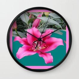 FUCHSIA PINK LILY TEAL ARTWORK Wall Clock