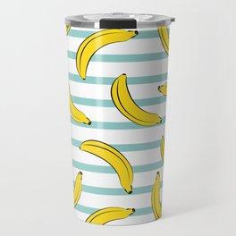 Banana summer fruits pattern on blue stripes Travel Mug