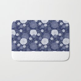 Indigo Chrysanthemums Bath Mat