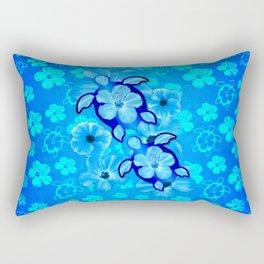 Tropical Hibiscus Flowers And Honu Turtles Rectangular Pillow