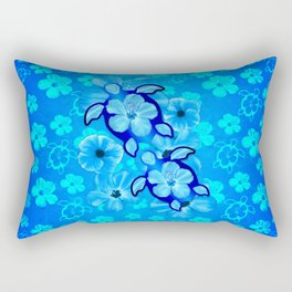 Tropical Hibiscus Flowers And Honu Turtles Rectangular Pillow
